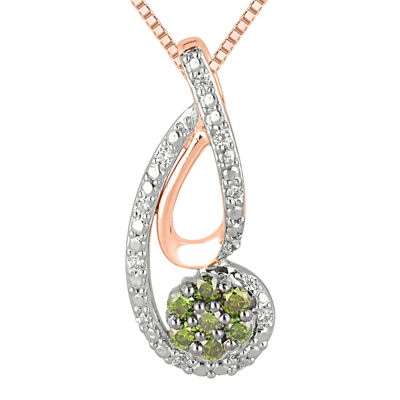 1/4 CT. T.W. Green & White Diamond 10K White & Rose Gold Pendant Necklace