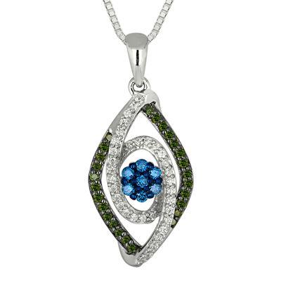 3/8 CT. T.W. White, Green & Blue Diamond 10K White Gold Pendant