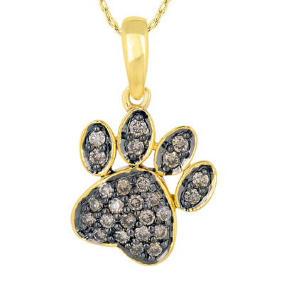 1/4 CT. T.W. Champagne Diamond 10K Yellow Gold Paw Print Pendant Necklace
