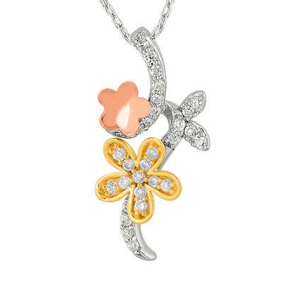 1/5 CT. T.W. Diamond 10K Tri-Color Gold Flower Pendant