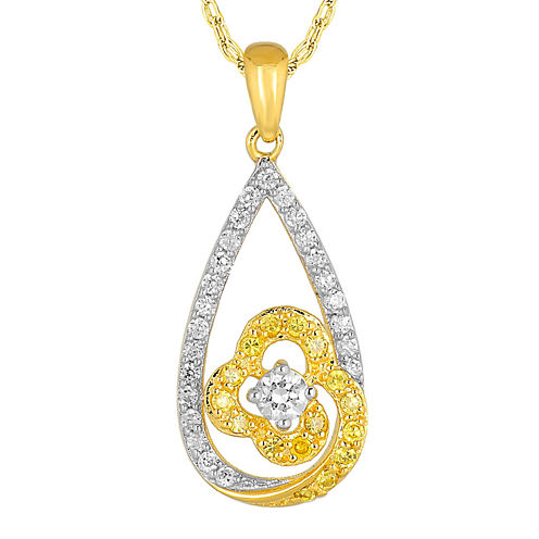 1/2 CT. T.W. White and Enhanced Yellow Diamond 10K Yellow Gold Pendant Necklace