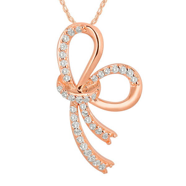 1/6 CT. T.W. Diamond 10K Rose Gold Bow Pendant Necklace