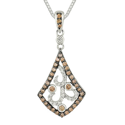 1/2 CT. T.W. White and Champagne Diamond Kite-Shaped Pendant Necklace