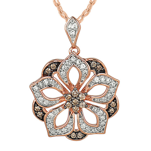 1/3 CT. T.W. White & Champagne Diamond 10K Rose Gold Pendant Necklace