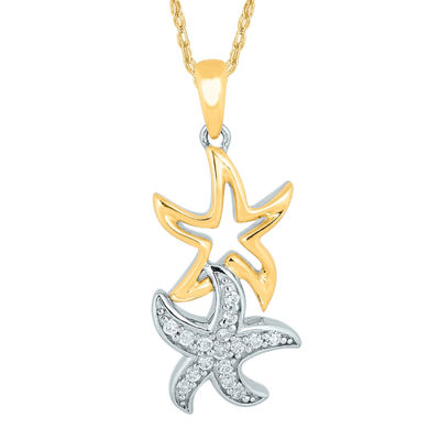 1/6 CT. T.W. Diamond 10K Two-Tone Gold Starfish Pendant Necklace