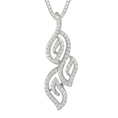 1/3 CT. T.W. Diamond 10K White Gold Pendant Necklace
