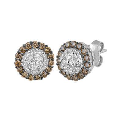 1/2 CT. T.W. Champagne & White Diamond 10K White Gold Earrings