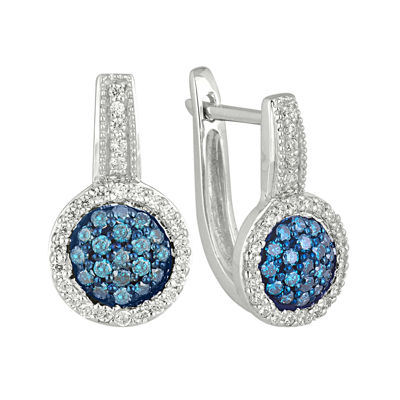 1/2 CT. T.W. White & Color-Enhanced Blue Diamond 10K White Gold Hoop Earrings