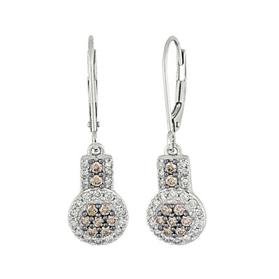 3/4 CT. T.W. Champagne & White Diamond 10K White Gold Dangle Earrings