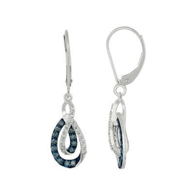 5/8 CT. T.W. White & Color-Enhanced Blue Diamond 10K Gold Dangle Earrings