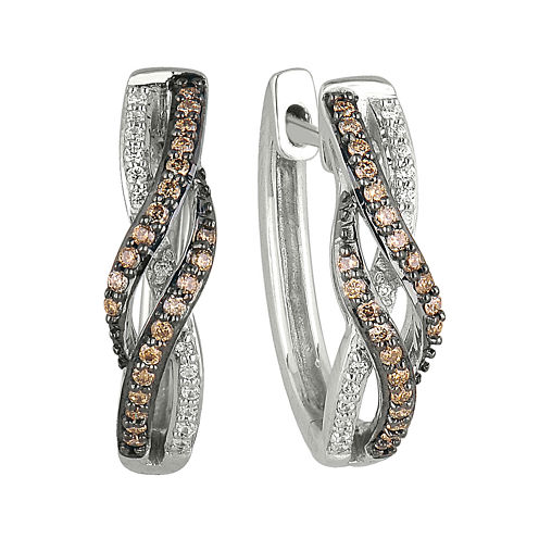 1/3 CT. T.W. Champagne & White Diamond 10K White Gold Hoop Earrings