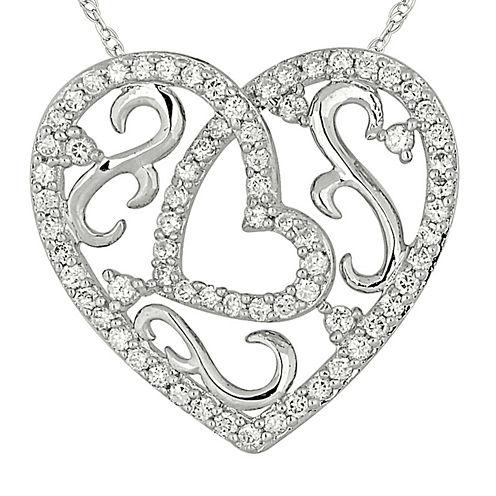 1/2 CT. T.W. Diamond 10K White Gold Heart Pendant Necklace