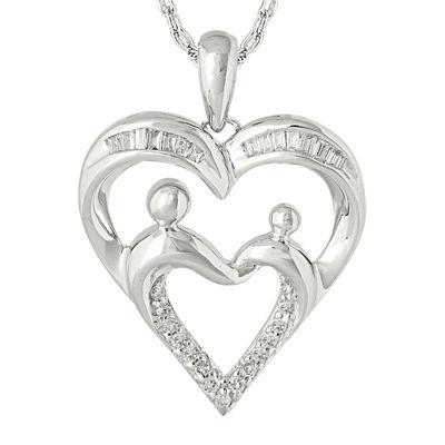 1/7 CT. T.W. Diamond  Accent 10K White Gold Heart Pendant Necklace