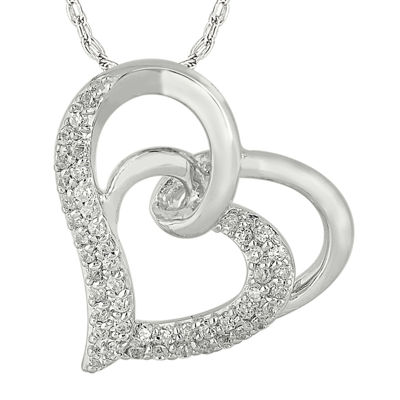 1/3 CT. T.W. Diamond 10K White Gold Double Heart Pendant Necklace