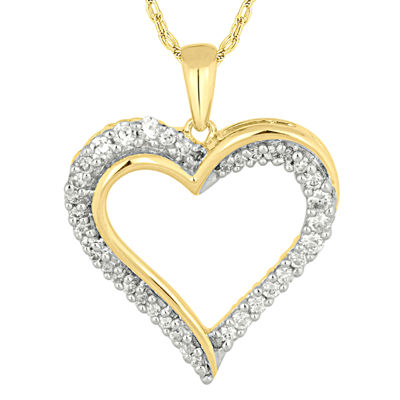 1/4 CT. T.W. Diamond 10K Yellow Gold Heart Pendant Necklace