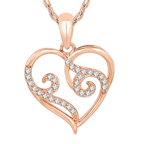 1/7 CT. T.W. Diamond 10K Rose Gold Heart Pendant Necklace