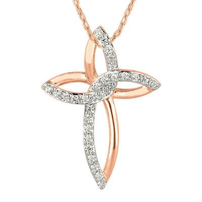 1/4 CT. T.W. Diamond 10K Rose Gold Cross Pendant Necklace