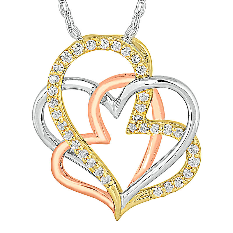 image of 1/CT. T.W. Diamond 10K Tri-Color Gold Heart Pendant Necklace-pp5006720034