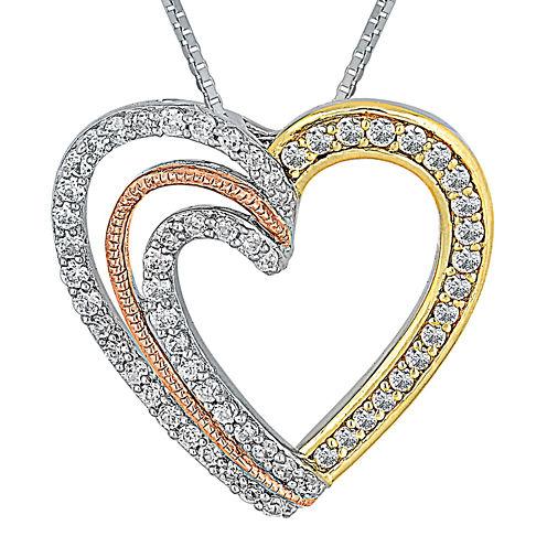 1/2 CT. T.W. Diamond 10K Tri-Color Gold Heart Pendant Necklace