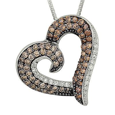 3/4 CT. T.W. Champagne & White Diamond 10K White Gold Heart Pendant Necklace