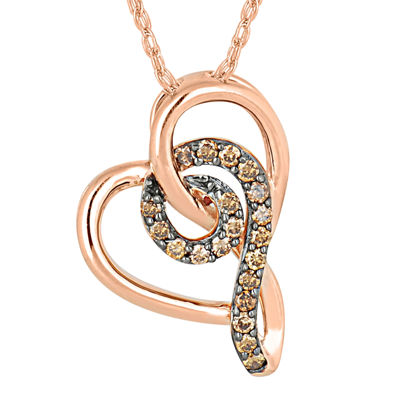 1/8 CT. T.W. Champagne Diamond 10K Rose Gold Heart Pendant Necklace