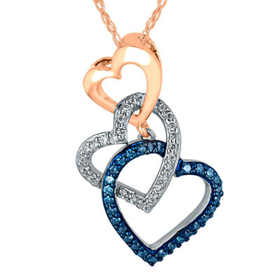 1/5 CT. T.W. White and Color-Enhanced Blue Diamond Triple Heart Pendant Necklace