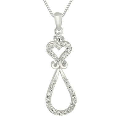 1/4 CT. T.W. Diamond Heart and Loop Pendant Necklace