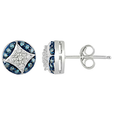 1/3 CT. T.W. White and Color-Enhanced Blue Diamond Sterling Silver Earrings