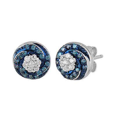 1/3 CT. T.W. White and Color-Enhanced Blue Diamond Sterling Silver Stud Earrings