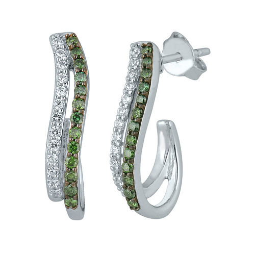 1/2 CT. T.W. White and Color-Enhanced Green Diamond Sterling Silver Earrings