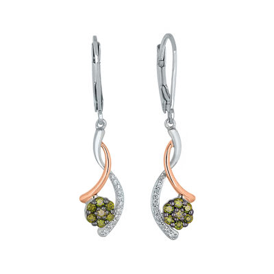 1/2 CT. T.W. White and Color-Enhanced Green Diamond Earrings