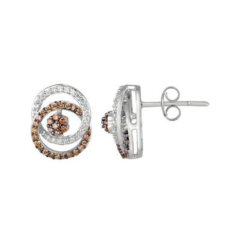 3/8 CT. T.W. Champagne & White Diamond Sterling Silver Stud Earrings