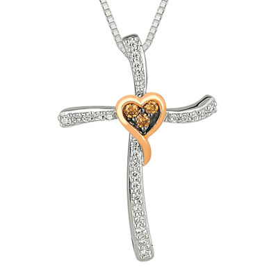 1/5 CT. T.W. White and Champagne Diamond Heart Cross Pendant Necklace