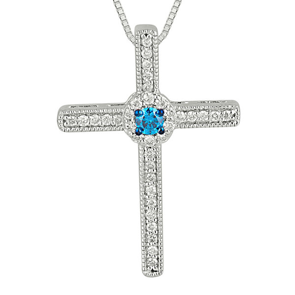 14 ct tw white and color enhanced blue diamond cross pendant tw white and color enhanced blue diamond cross pendant necklace mozeypictures Choice Image