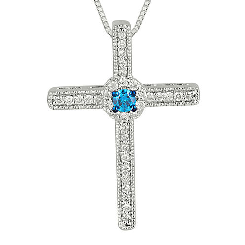 1/4 CT. T.W. White and Color-Enhanced Blue Diamond Cross Pendant Necklace