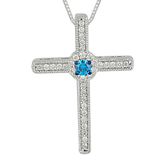 womens white sapphire blue pendant ct necklace gold diamond