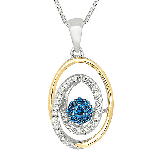 1/4 CT. T.W. White and Color-Enhanced Blue Diamond Circle Pendant Necklace
