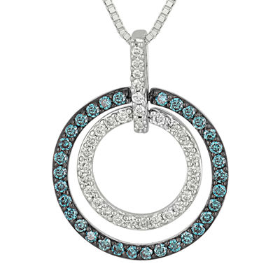 1/3 CT. T.W. White and Color-Enhanced Blue Diamond Circle Pendant Necklace.