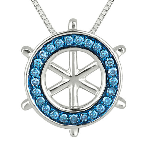 1/6 CT. T.W. White & Color-Enhanced Blue Diamond Ship Wheel Pendant Necklace