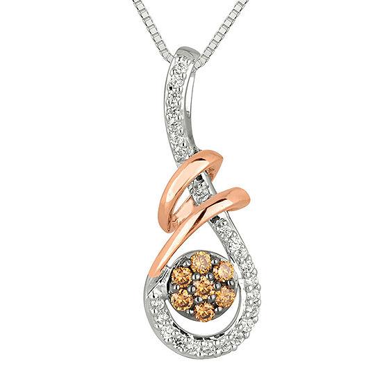 1/4 CT. T.W. White & Champagne Diamond Pendant Necklace