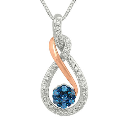 1/4 CT. T.W. White and Color-Enhanced Blue Diamond Pendant Necklace