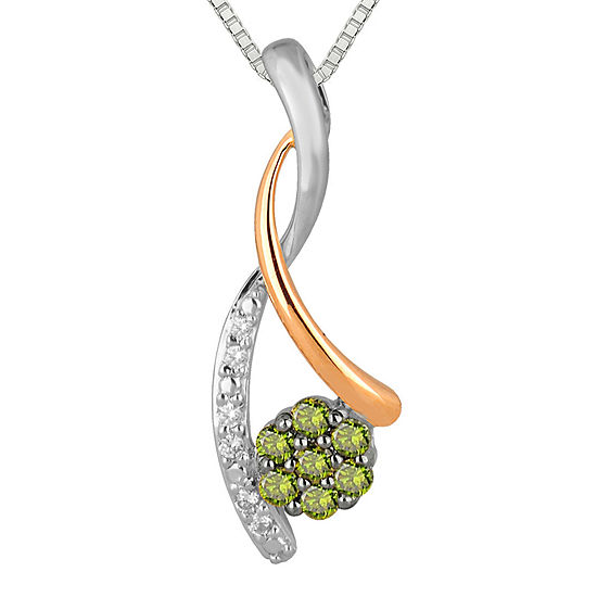 1 4 Ct Tw White And Color Enhanced Green Diamond Pendant Necklace