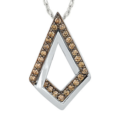 1/7 CT. T.W. Champagne Diamond Sterling Silver Pendant Necklace
