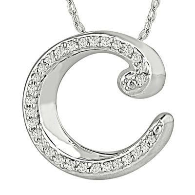 1/7 CT. T.W. Diamond Sterling Silver Initial C Pendant Necklace