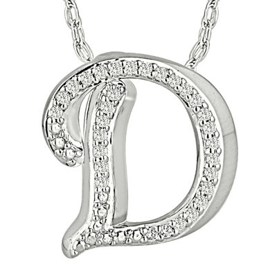 1/7 CT. T.W. Diamond Sterling Silver Initial D Pendant Necklace