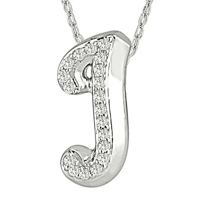 1/7 CT. T.W. Diamond Sterling Silver Initial J Pendant Necklace