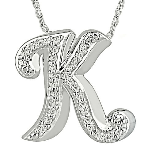1/7 CT. T.W. Diamond Sterling Silver Initial K Pendant Necklace