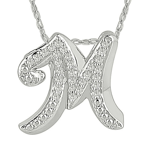 1/7 CT. T.W. Diamond Sterling Silver Initial M Pendant Necklace