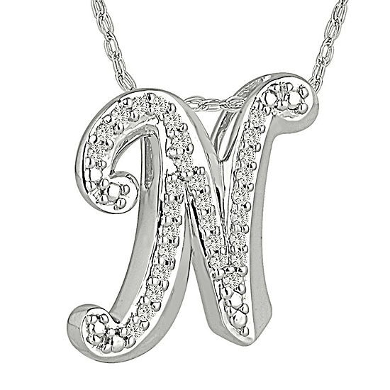 """1/7 CT. T.W. Diamond Sterling Silver Initial """"N"""" Pendant Necklace"""