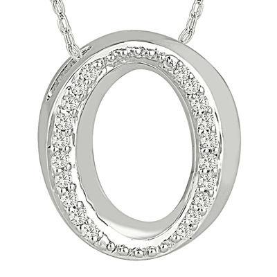"1/7 CT. T.W. Diamond Sterling Silver Initial ""O"" Pendant Necklace"